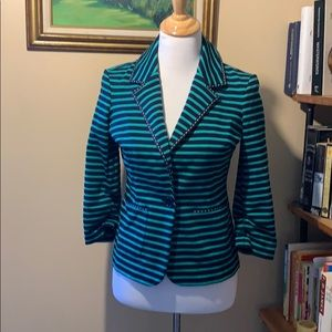 Navy and green striped blazer